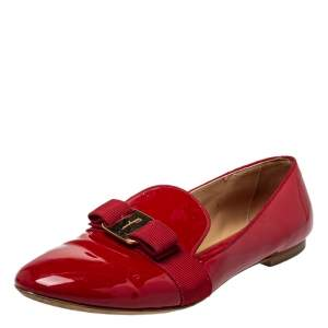Salvatore Ferragamo Red Patent Leather Bow Loafers Size 39.5