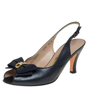 Salvatore Ferragamo Dark Blue Gancini Bow Slingback Sandals Size 39