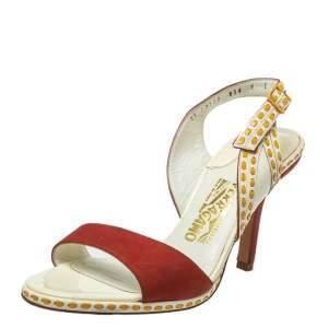 Salvatore Ferragamo Orange/White Patent And Leather Slingback Sandals Size 39.5