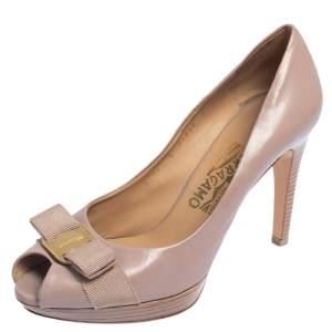 Salvatore Ferragamo Pink Leather Pola Vara Bow Peep Toe Pumps Size 38.5