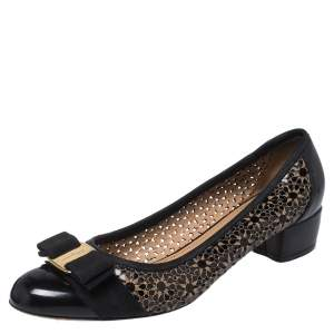 Salvatore Ferragamo Black Floral Perforated Patent Leather Vara Bow Pumps Size 38