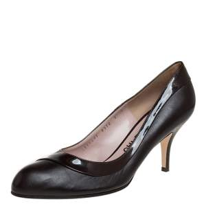 Salvatore Ferragamo Brown Leather and Patent Leather Pumps Size 39.5