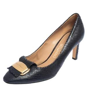 Salvatore Ferragamo Black Python Embossed Leather Embellished Fringe Detail Pumps Size 40.5
