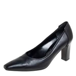 Salvatore Ferragamo Black Leather Block Heel Pumps Size 41