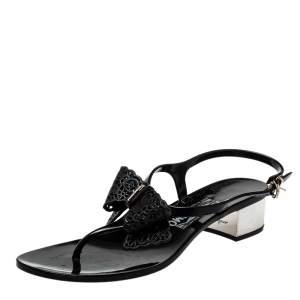 Salvatore Ferragamo Black Rubber Perala Bow Thong Sandals Size 38.5