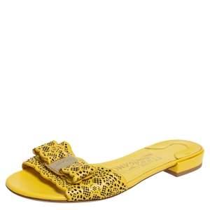 Salvatore Ferragamo Yellow Laser Cut Leather Gil Flat Slide Sandals Size 35
