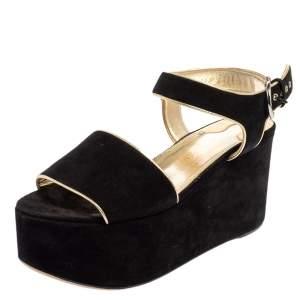 Salvatore Ferragamo Black Suede Wedge Platform Sandals Size 40