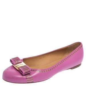 Salvatore Ferragamo Pink Leather Vara Bow Ballet Flats Size 37.5