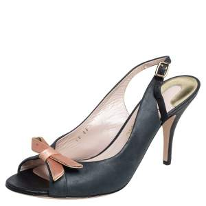 Salvatore Ferragamo Leather Bow Peep Toe Slingback Sandals Size 40.5