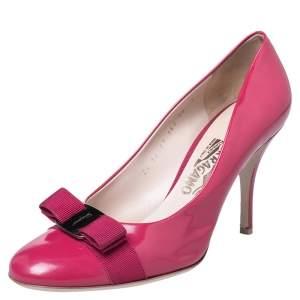 حذاء كعب عالي سالفاتوري فيراغامو جلد وردي مزبن فيونكة فارا مقاس 40.5