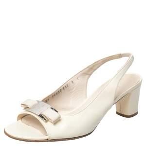 Salvatore Ferragamo White Patent Leather Slingback Sandals Size 38.5