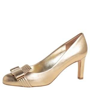 Salvatore Ferragamo Gold Leather Lux Pumps Size 36.5