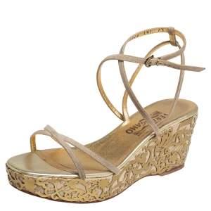 Salvatore Ferragamo Metallic Gold/Beige Suede and Leather Laser Cut Platform Sandals Size 38