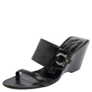 Salvatore Ferragamo Black Leather Wedge Slide Sandals Size 39