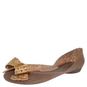 Salvatore Ferragamo Beige Jelly Nilly Bow Ballet Flats Size 38.5
