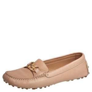 Salvatore Ferragamo  Beige Leather Saba Loafers Size 36.5