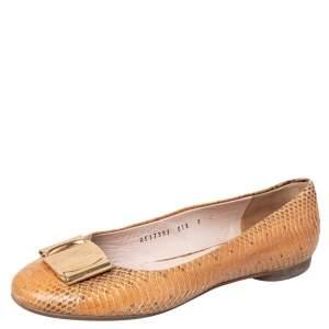 Salvatore Ferragamo Beige Python Leather Bow Ballet Flats Size 39.5