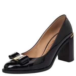 Salvatore Ferragamo Black Patent Leather Vara Bow Block Heel Pumps Size 37
