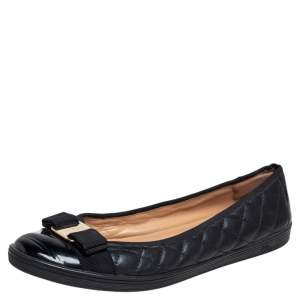 Salvatore Ferragamo Black Quilted Leather Vara Bow Ballet Flats Size 40.5