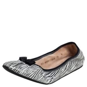 Salvatore Ferragamo Silver/White Zebra Print Leather My Joy Ballet Flats Size 40.5