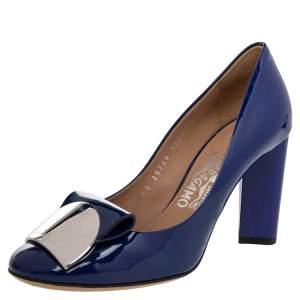 Salvatore Ferragamo Blue Patent Leather Providence Block Heel Pumps Size 36.5