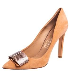 Salvatore Ferragamo Beige Suede and Python Trim Bow Pointed Toe Pumps Size 39.5