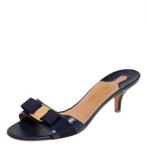 Salvatore Ferragamo Blue Leather Vara Bow Slide Sandals Size 40