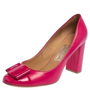 Salvatore Ferragamo Pink Leather Vara Bow  Pumps Size 39
