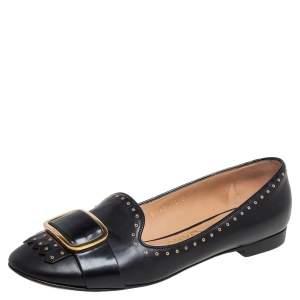 Salvatore Ferragamo Black Leather Studded Fringe Detail Ballet Flats Size 36.5