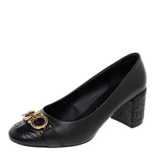 Salvatore Ferragamo Black Quilted Leather Block Heel Pumps Size 38.5