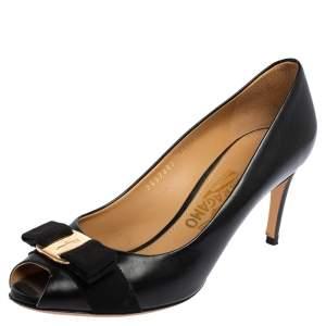 Salvatore Ferragamo Black Leather Pola Vara Bow Peep Toe Pumps Size 38.5