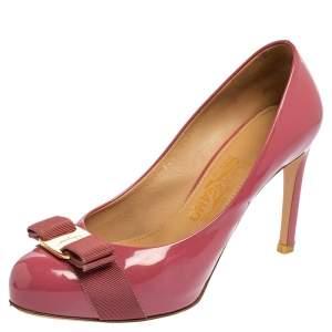 Salvatore Ferragamo Pink Patent Leather Carla Vara Bow Pumps Size 37.5