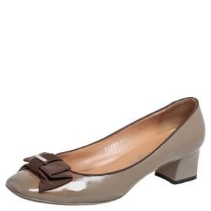 Salvatore Ferragamo Grey Patent Leather My Knot Block Heel Pumps Size 38.5