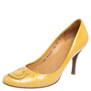 Salvatore Ferragamo Yellow Patent Leather Pumps Size 38.5