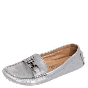 Salvatore Ferragamo Silver Leather Slip on Loafers Size 37