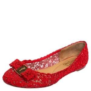 Salvatore Ferragamo Red Lace Vara Bow Ballet Flats Size 39