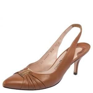 Salvatore Ferragamo Brown Leather Slingback Sandals Size 38