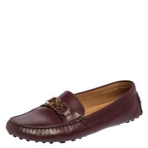 Salvatore Ferragamo Burgundy Leather Slip On Loafers Size 39.5