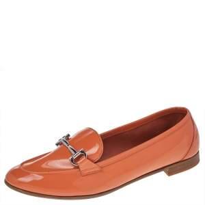 Salvatore Ferragamo Orange Patent Leather Funes Gancio Bit Loafers Size 40.5