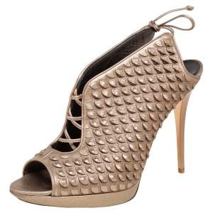Salvatore Ferragamo Metallic Beige Python Embossed Leather Studded Slingback Sandals Size 39