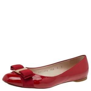 Salvatore Ferragamo Red Patent Leather Vara Bow Flats Size 35.5