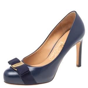 Salvatore Ferragamo Navy Blue Leather Pimpa Vara Bow Pumps Size 35.5