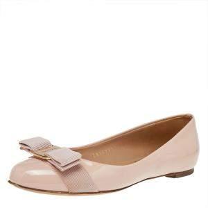 Salvatore Ferragamo Pink Patent Leather Vara Bow Ballet Flats Size 35.5