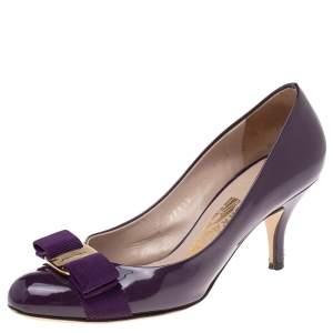 Salvatore Ferragamo Purple Patent Leather Vara Bow Pumps Size 35.5