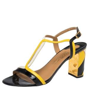 Salvatore Ferragamo Tricolor Leather And Patent Leather Ankle Strap Sandals Size 39
