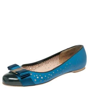 Salvatore Ferragamo Blue/Green Leather And Patent Bow Ballet  Flats Size 35.5