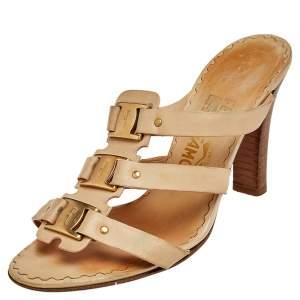 Salvatore Ferragamo Beige Leather Slide Sandals Size 38.5