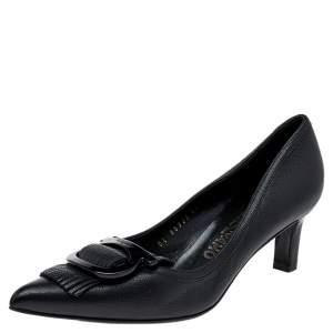 Salvatore Ferragamo Black Leather Gancini Buckle Fringe Detail Pointed Toe Pumps Size 38