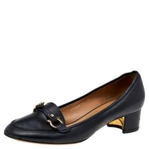 Salvatore Ferragamo Black Leather Slip on Pumps Size 37
