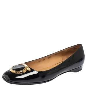 Salvatore Ferragamo Black Patent Leather Rebi Gancio Ballet Flats Size 40.5